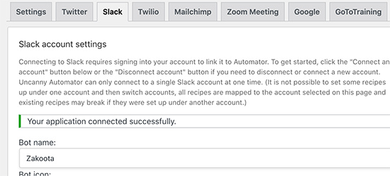 Successfully connected Slack to WordPress via Uncanny Automator