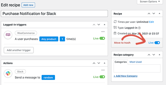 Publish recipe for your WooCommerce Slack Integration