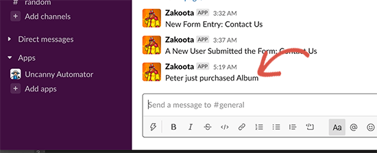 WooCommerce purchase message in Slack