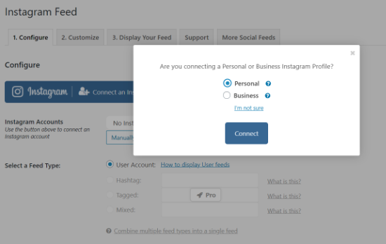Select an Instagram Profile