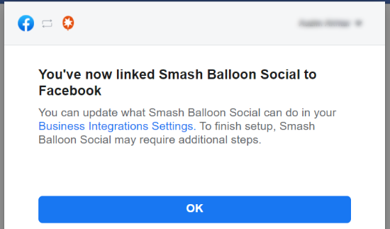 You have linked Smash Balloon to Facebook