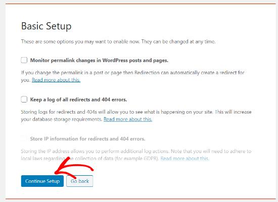 Basic setup Redirection plugin