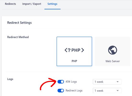 enable 404 logs