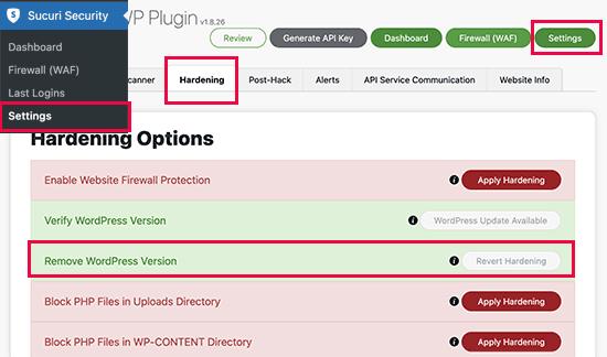 Sucuri WordPress version hardening