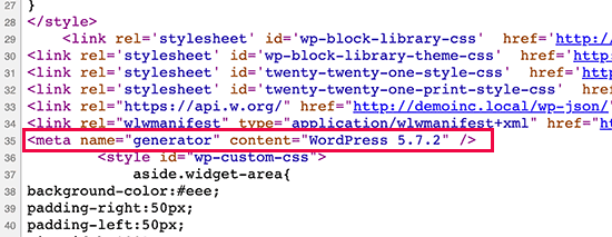 WordPress version shown in source code by default