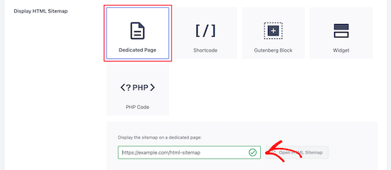 Enter URL for HTML sitemap page