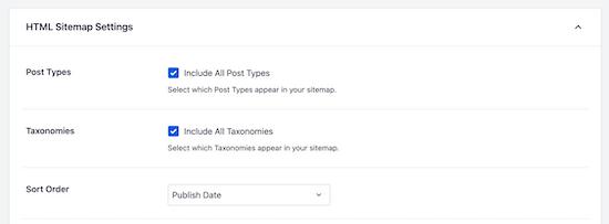 Customize HTML sitemap settings
