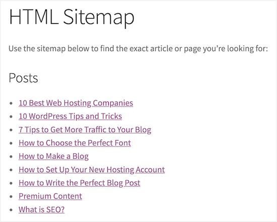 Final block sitemap example