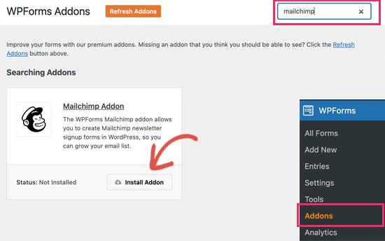 Install WPForms Mailchimp addon