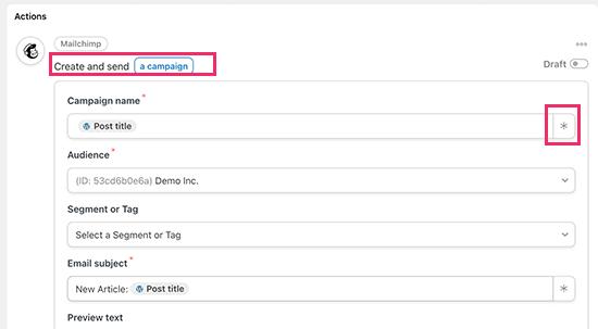 Configure your Mailchimp email campaign